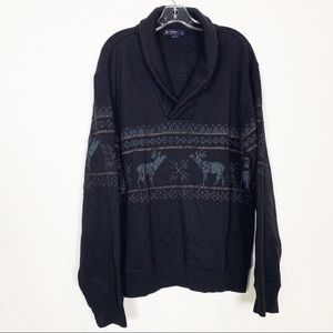 Cremieux Pullover Holiday Reindeer Print Sweater